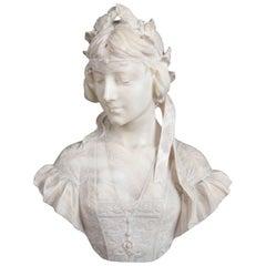 Antique Italian Marble Buste de Femme by E. Fiaschi, 19th Century