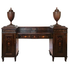 Early 19th Century Regency Marquetry Inlaid Rosewood Pedestal Sideboard with Urn