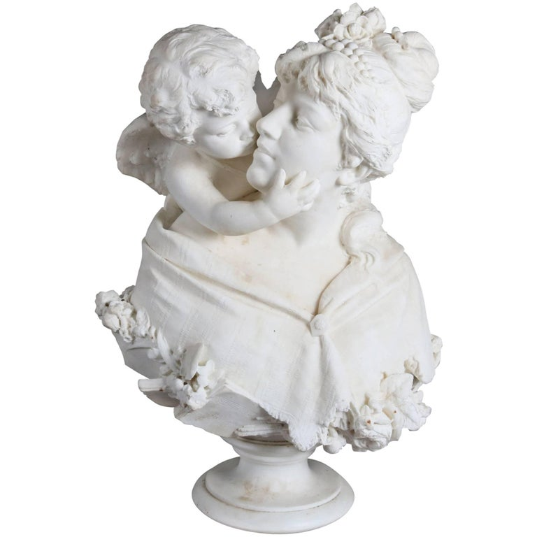 Oversized Antique Carved Alabaster Bust of Classical Cupid & Psyche For Sale