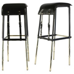 Jacques Adnet 1950s Two Black Leather Bar Stools