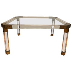 Lucite Perspex Glass Coffee Table, Hollywood Regency Style, French, circa 1970s