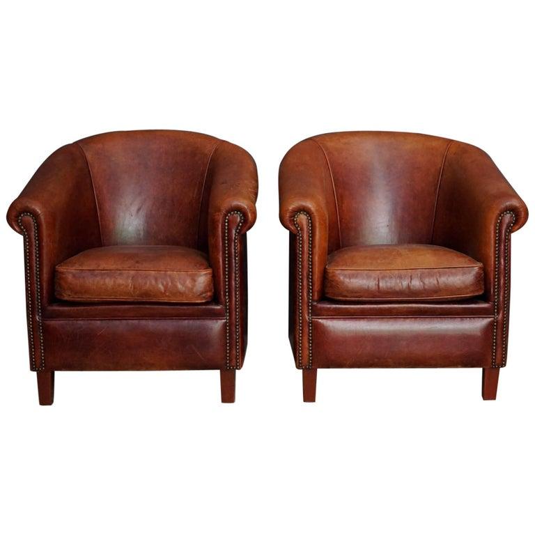 leather club chairs vintage. Vintage Dutch Cognac Leather Club Chairs, Set Of Two For Sale Chairs