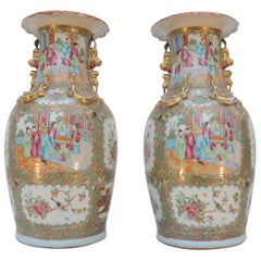 Pair of Chinese Canton Famille Rose Vases