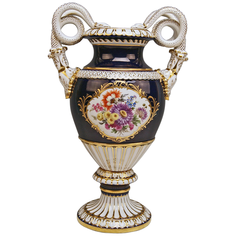 Meissen Snake Handles Vase Painted Designed by Leuteritz, circa 1924-1934