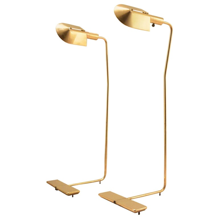 One Cedric Hartman 1970s Counterweighted Brass Reading Floor Lamp