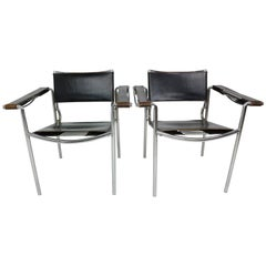 Set of Two Leather 'Spaghetti' Armchairs by Giandomenico Belotti for Alias 1980s