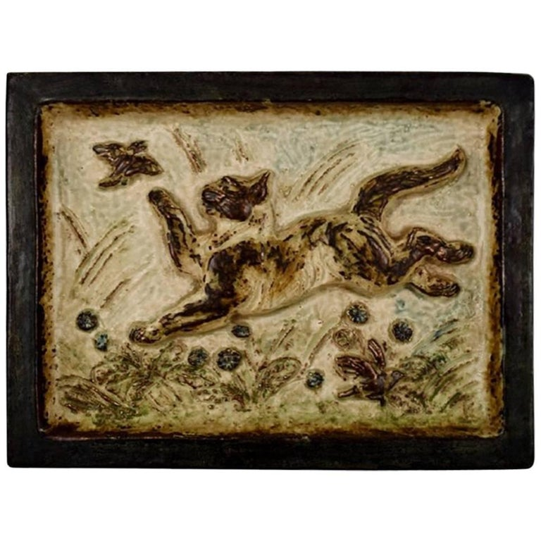 Royal Copenhagen Stoneware Relief with Playful Cat and Bird by Knud Kyhn