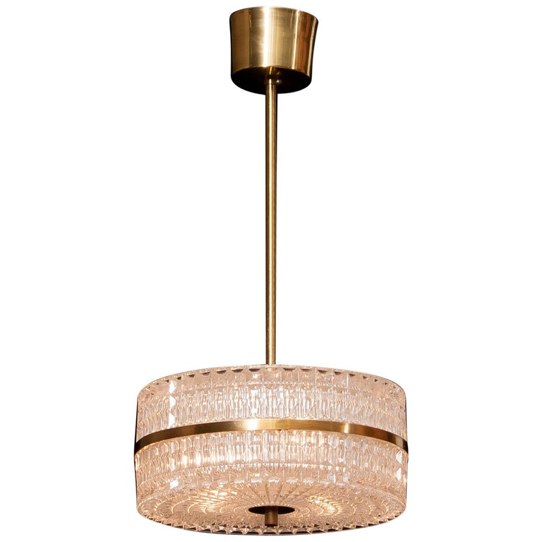 1960s Crystal and Brass Pendant by Carl Fagerlund for Orrefors