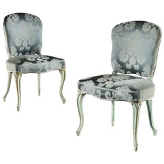 Pair of French Louis XVI Painted and Parcel Gilt Side Chairs