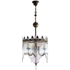 Mid-20th Century French Vintage Three-Light Chandelier with Glass Rods