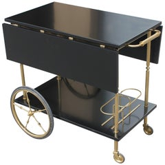 Beautiful Maison Jansen Ebonized Drop-Leaf Bar Cart, circa 1940s