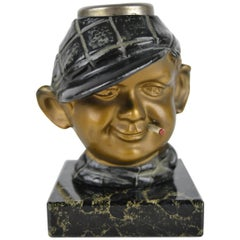 1930s Electric Cigar Lighter Man with Cigarette, cold painted bronze