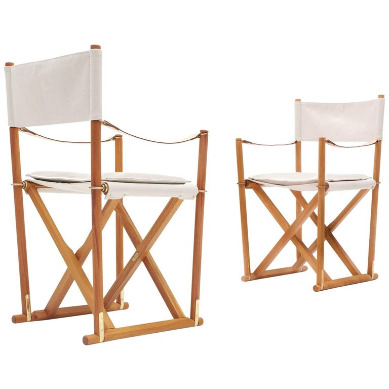 Mogens Koch Pair of Mk-16 Folding Safari Chairs by Rud Rasmussen Denmark