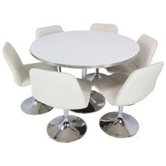 Tulip Table and Six 'Vinga' Swivel Chairs by Börje Johanson, 1970s