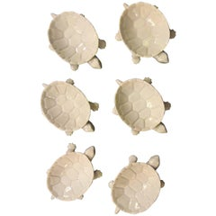 Midcentury-Modern Set of Six KPM Turtle Dishes in White Porcelain
