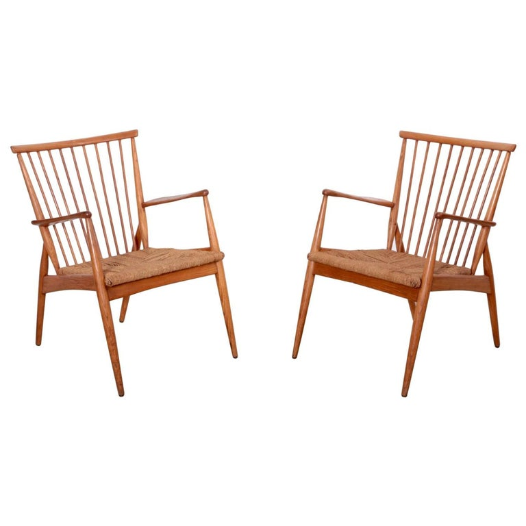 Pair of German Studio Lounge Chairs in Ash and Papercord