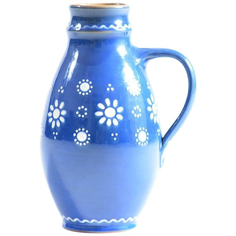 Blue Handmade Ceramic Jug or Vase Slovakian Folk Art, circa 1960