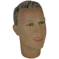 1930s Antique Plaster Male Mannequin Head with Glass Eyes