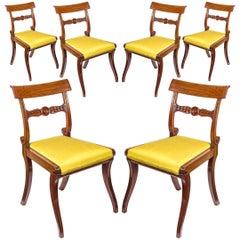 English 19th Century Set of Six Regency Klismos Dining Chairs