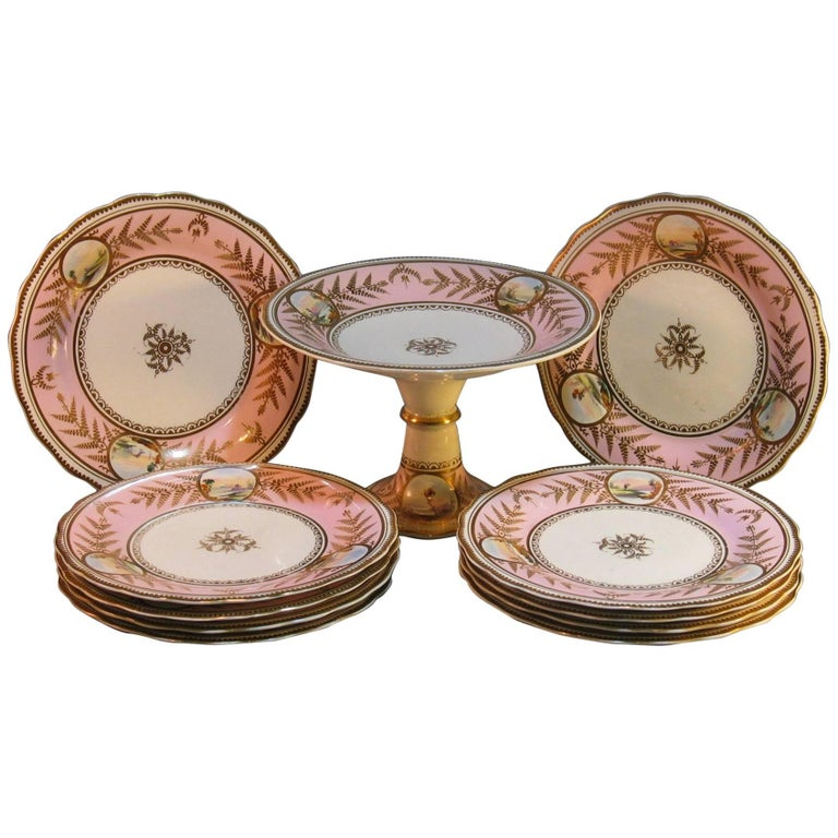 English Scenic Porcelain Dessert Service, Mid-19th Century For Sale