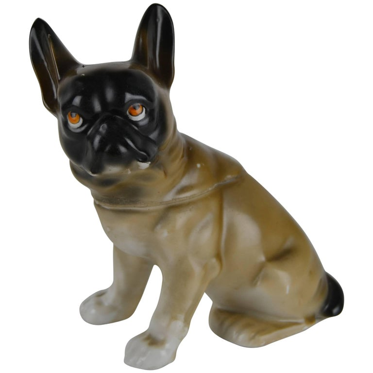 1930s Antique German Porcelain French Bulldog Humidor For Sale