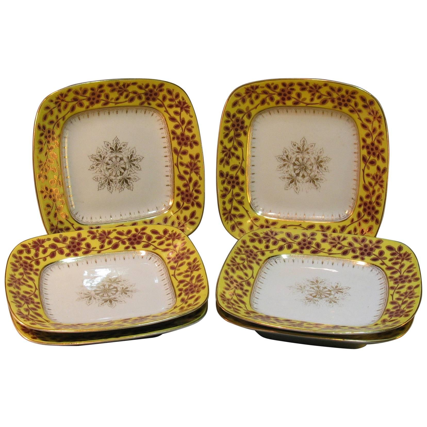 Six Unusual Rounded Square Porcelain Plates, 19th Century