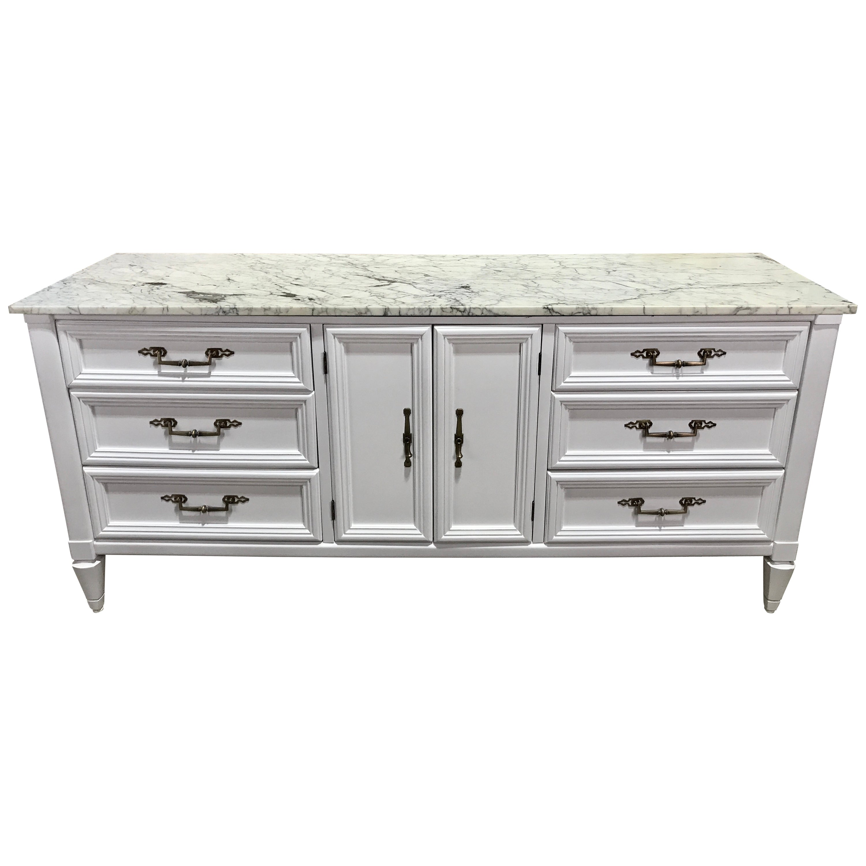 Parzinger Style White Lacquered Marble-Top Credenza or Sideboard
