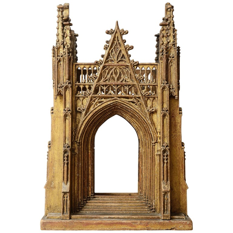 Gilded Wooden Reliquary in the Shape of a Gothic Cathedral, England 15th Century 1
