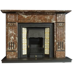 Irish 19th Century Victorian Hand-Carved Breccia Marble Fireplace Surround