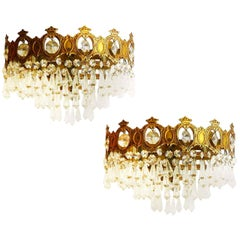 Pair of Wall Lights Sconces Three-Tiered Half Crown Faceted Glass Drops