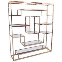 Large Romeo Rega Brass Shelf or Etagere