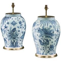 Pair of Blue and White Chinese Vases with Fish and Foliage