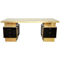 1970s Textured Black Lacquer and Brass Executive Desk by Guy Lefevre