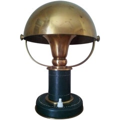 1930s Leather and Brass Table Lamp Attributed to Paul Dupré-Lafon, Hermes