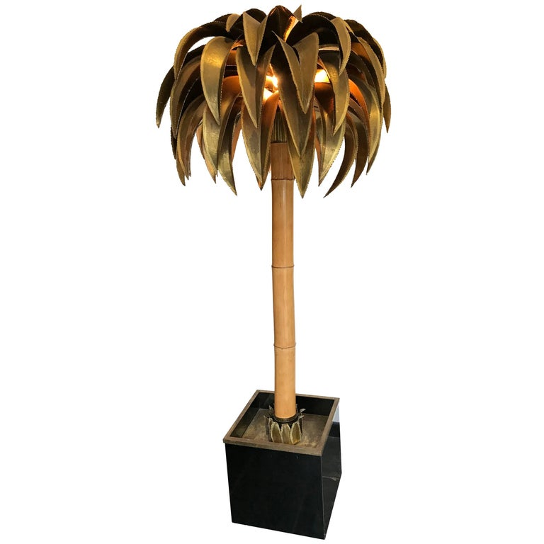 Large maison jansen palm tree floor lamp for sale at 1stdibs for Large tree floor lamp