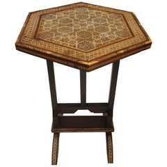 Egyptian Moorish Octagonal Side Tilt-Top Inlaid Table