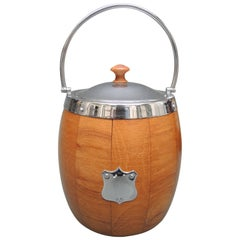 English Wood and Chrome Biscuit Barrel /Ice Bucket with Shield Decoration