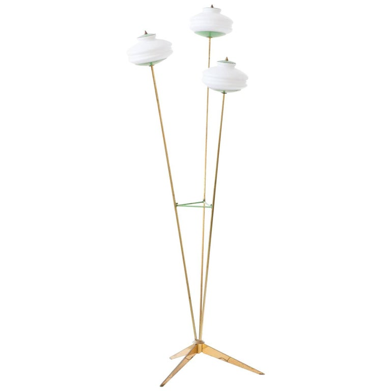 Italian Mid-Century Modern Brass and Opaline Glass Floor or Base Lamp, 1950s