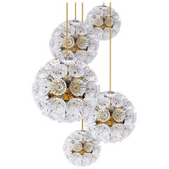 Staircase or Hall Cascade of Five Eye-Catching Floral Glass and Brass Chandelier