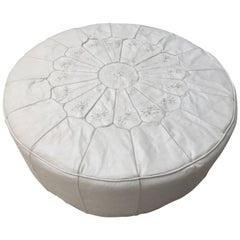 Large Round White Leather Table Ottoman