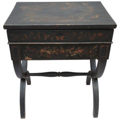 19th Century English Regency Black Decoupage Side Table or Dressing Table