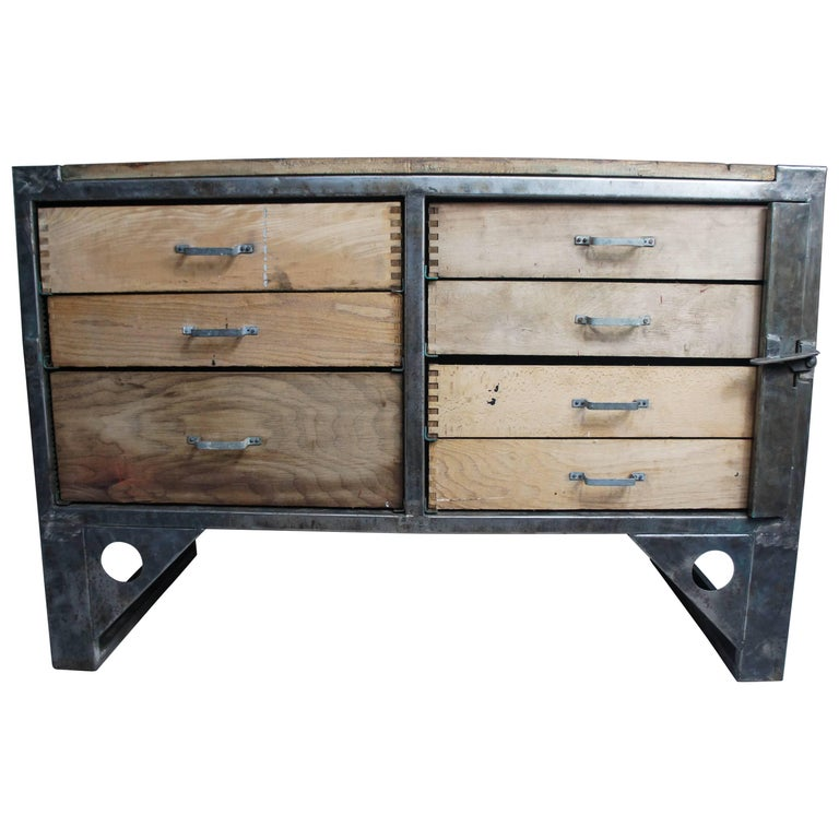 Midcentury vintage industrial workbench kitchen island worktable for sale at 1stdibs - Industrial kitchen island for sale ...