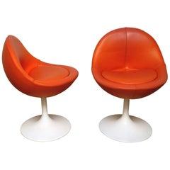 Börje Johanson Orange Leather Venus Chair on White Tulip Foot, Sweden, 1960s
