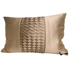 Silk Cushion Pleated Centre Stripe Detail Color Pure Platinum Rip Fabric