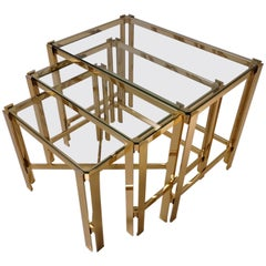 Gold Nesting Tables, Gold-Plated Gilt by Pierre Vandel, circa 1970s, France