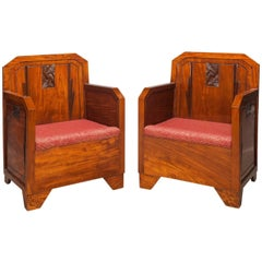Pair of Belgium Art Deco Bergere Armchairs, 1930