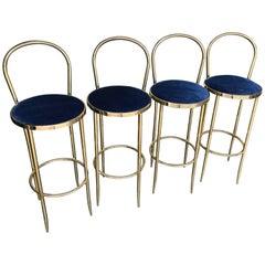 Set of Four Brass Italian Bar Stools
