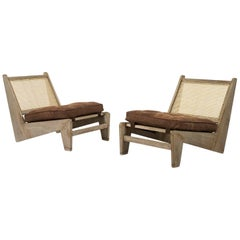 Pierre Jeanneret, PJ-SI-59-C, Kangaroo Chairs, circa 1960, Teak Cane, Chandigarh