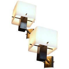 Pair of Geometrical Stilnovo Wall Lights with Opaline Glass Shades