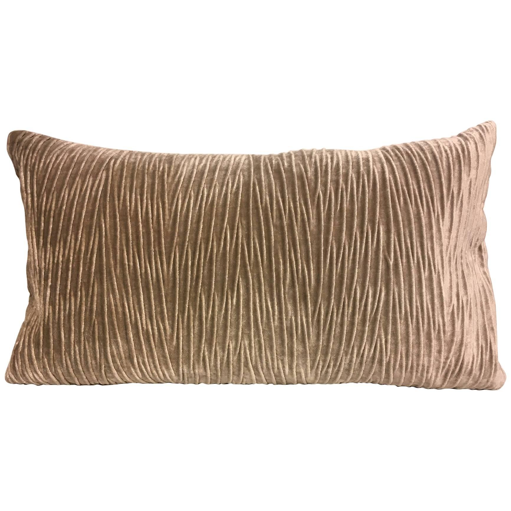 Cushion with Pleated Front Panel in Wave Pattern Vertical on Velvet